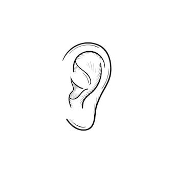 Icono de doodle de contorno dibujado de mano de oído humano