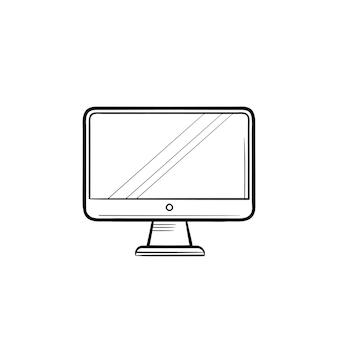 Icono de doodle de contorno dibujado de mano de pantalla de computadora. monitor y pantalla de computadora, concepto de equipo digital de oficina