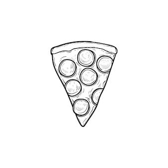 Icono de doodle de contorno dibujado de mano de rebanada de pizza. ilustración de dibujo vectorial de una rebanada de pizza italiana para impresión, web, móvil e infografía aislado sobre fondo blanco.