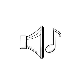 Icono de doodle de contorno dibujado de mano de reproducción de música