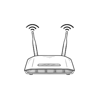 Icono de doodle de contorno dibujado de mano de router wifi. tecnología de internet, conexión inalámbrica y wifi, concepto de dispositivo de internet.