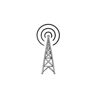 Icono de doodle de contorno dibujado de mano de torre de radio. antena de radio, comunicación inalámbrica, concepto de transmisión.