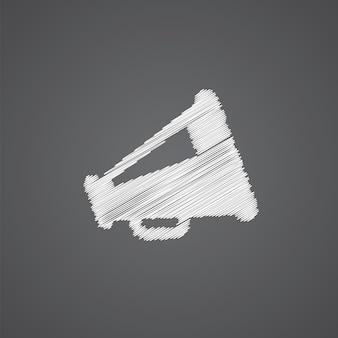 Icono de doodle de logo de boceto de altavoz aislado sobre fondo oscuro