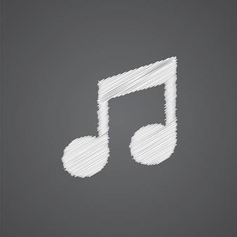 Icono de doodle de logo de bosquejo de música aislado sobre fondo oscuro