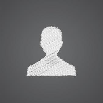 Icono de doodle de logo de dibujo de perfil masculino aislado sobre fondo oscuro