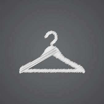 Icono de doodle de logotipo de dibujo de sombrero de suspensión aislado sobre fondo oscuro