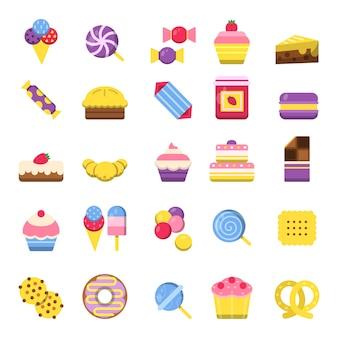 Icono de dulces galletas de bombones de chocolate pastel de helado símbolos coloridos