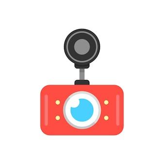 Icono de dvr de coche rojo. concepto de grabadora de video digital, prevención de accidentes, aparato de grabación, monitor de circuito cerrado de televisión. aislado sobre fondo blanco. ilustración de vector de diseño de logotipo moderno de tendencia de estilo plano
