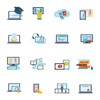 Icono de e-learning plano