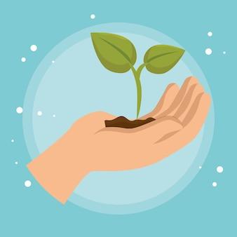 Icono de ecología vegetal de elevación de mano