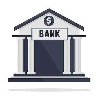 Icono de edificio de banco aislado en blanco