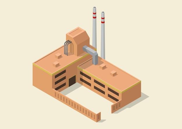 Icono de edificio industrial simple isométrico