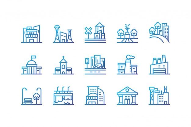 Icono de edificios de la ciudad aislada establece diseño vectorial