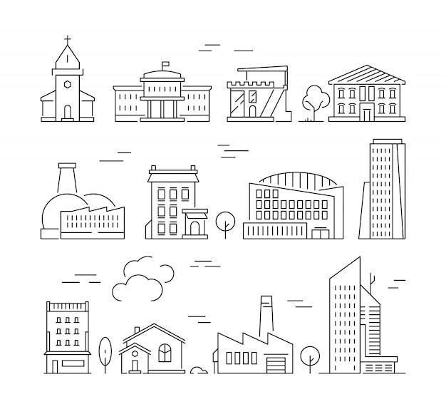 Icono de edificios de la ciudad. arquitectura urbana casas de pueblo fábrica salas de estar paredes exteriores vector conjunto de imágenes lineales