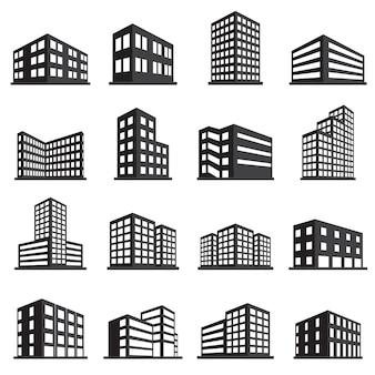 Icono de edificios y conjunto de iconos de oficina