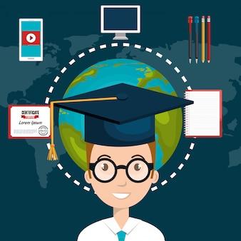 Icono de educación elearning estudiante