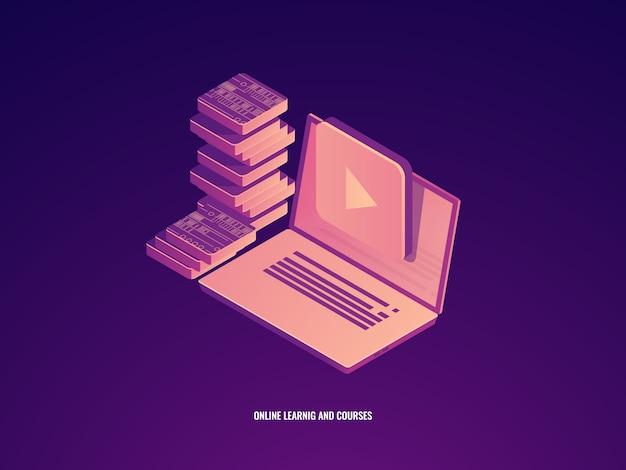 Icono de educación en línea, aprendizaje y cursos, laptop con concepto de libro electrónico