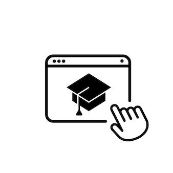 Icono de educación en línea. aprendizaje electrónico en línea en casa. escuela a distancia. vector sobre fondo blanco aislado. eps 10.