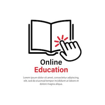 Icono de educación en línea. estudio a distancia. tutorial de video guía, curso, seminario, conferencia, transmisión, seminario web. concepto de aprendizaje electrónico. vector sobre fondo blanco aislado. eps 10.