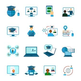 Icono de educación en línea plano
