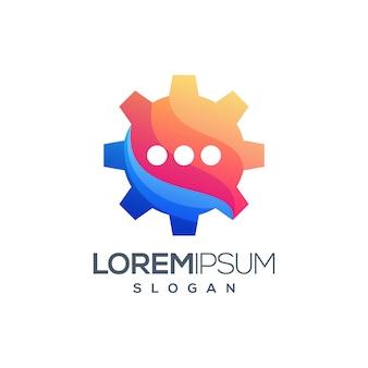 Icono de engranaje chat diseño de logotipo colorido