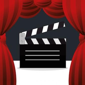 Icono de entretenimiento de junta claqueta de cine