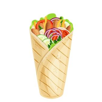 Icono de envoltura de pollo o shawarma