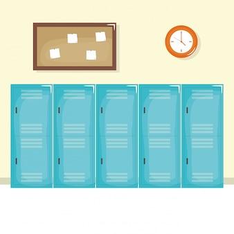 Icono de escena de pasillo de escuela aislado