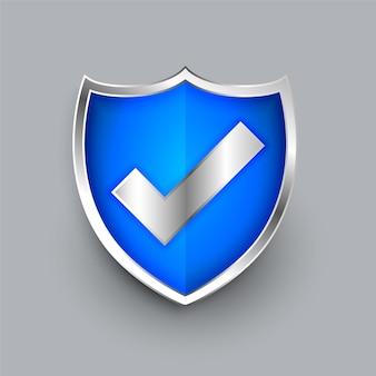 Icono de escudo con diseño de símbolo de marca de verificación