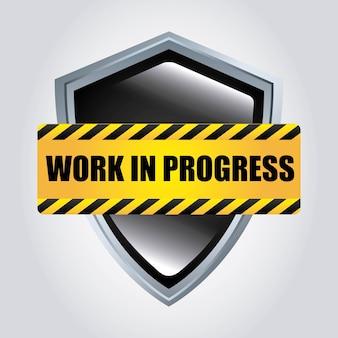 Icono de escudo diseño de trabajo en progreso. gráfico vectorial