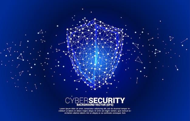 Icono de escudo de protección de red de polígono de línea de conexión de punto. concepto de seguridad de guardia