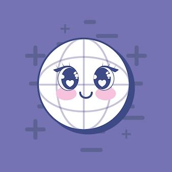 Icono de esfera global kawai