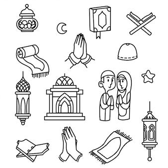 Icono de esquema de ramadán estilo libre