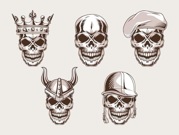 Icono de estilo de conjunto de cabezas de calaveras