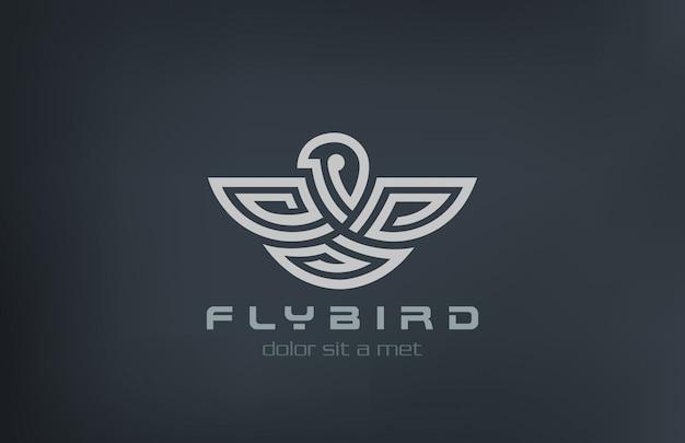 Icono de estilo lineal abstracto logo de pájaro.