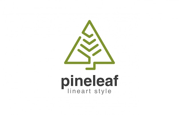 Icono de estilo lineal abstracto de logotipo de árbol de navidad