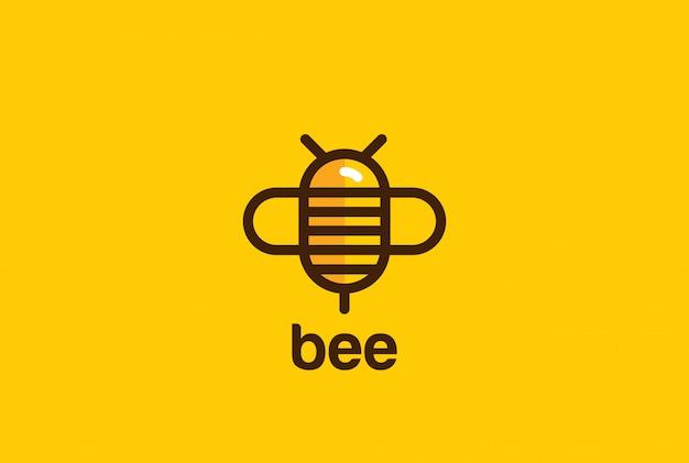 Icono de estilo lineal de logotipo de abeja.