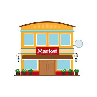 Icono de estilo plano de mercado aislado en blanco