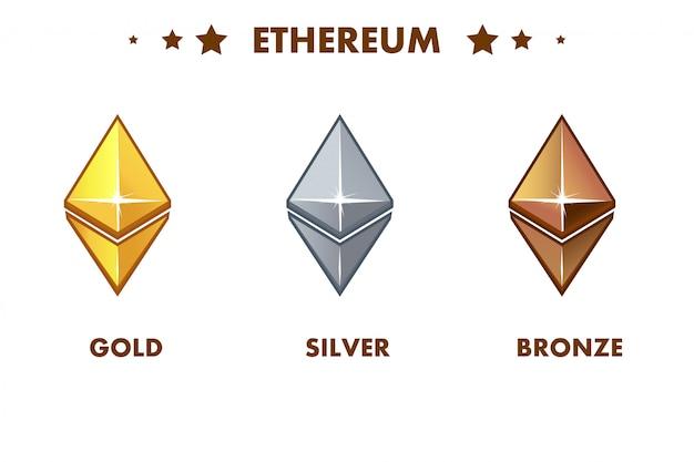 Icono de ethereum de oro, plata y bronce aislado. monedas digitales o virtuales y efectivo electrónico