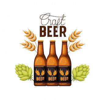 Icono de etiqueta de cerveza artesanal aislado