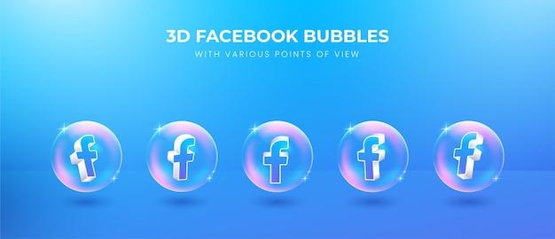 Icono de facebook de redes sociales 3d con varios puntos de vista
