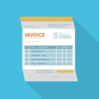 Icono de factura aislado con una larga sombra. forma minimalista y sin relleno del documento.