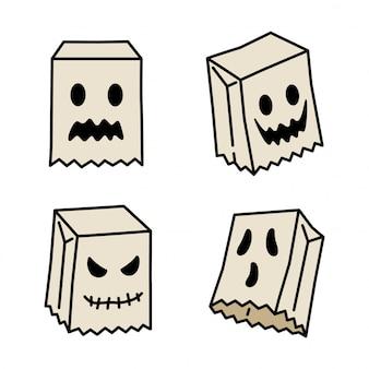 Icono fantasma espeluznante personaje de dibujos animados de halloween bolsa de papel