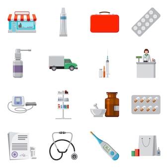 Icono de farmacia y hospital de diseño vectorial. establecer stock de farmacia y negocios.