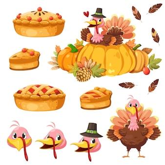 Icono de feliz día de acción de gracias con pavo, calabaza y pastel