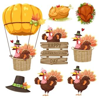 Icono de feliz día de acción de gracias con turquía, etiqueta, canasta, calabaza y sombrero.
