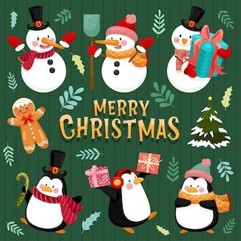 Icono de feliz navidad con muñeco de nieve, pino, hojas, cajas de regalo y pingüinos.