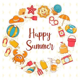 Icono de feliz verano con fondo de letras