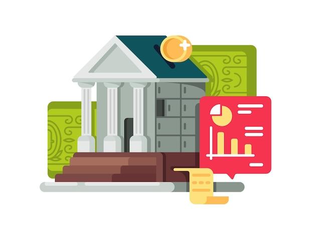 Icono de finanzas bancarias y bancarias. caja de depósito de acumulación y capitalización. ilustración vectorial