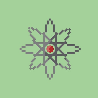 Icono de física con estilo pixel art